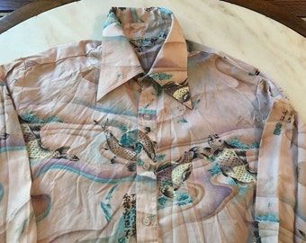 Huk-a-poo Men's shirt Asian Koi Fish disco Fit Pointed Collar 1970's