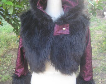 Handmade Black Faux Fur Jacket / Playa Coat