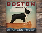FREE TEXT CUSTOMIZATION Boston Terrier Dog Canoes Ready-to-Hang Stretched Canvas Wall Art Fowler Native Vermont