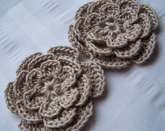 Crochet flower 3 inch Pima cotton sand set of 2 flowers