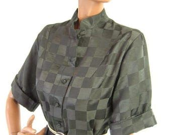 70s Dress Vintage Little Black Dress Asian Inspired Caftan Ogust Checkerboard Small to Medium  LBD