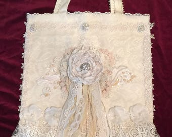 OOAK Shabby Chic Altered Canvas Wedding/Cottage/Victorian/ Romantic/Boho/Gypsy Bag