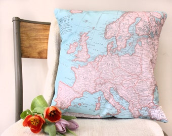 Europe Vintage Map Cushion or Pillow