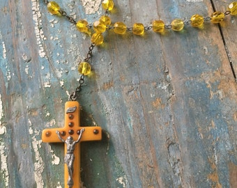 Vintage Bakelite Rosary Butterscotch w/ glass beads
