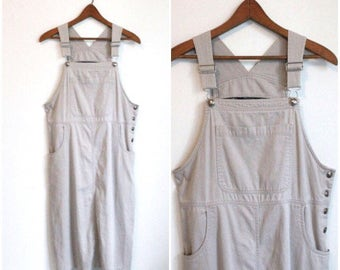 90s Overall Dress, Dress with Suspenders, Jumper Dress, Bib Front Dress Normcore Beige Dress, Bib Dress, Oversize, Medium Large Corduroy