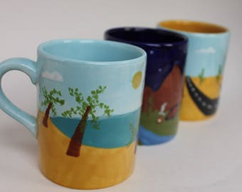 Vacation Ceramic Coffee Cups - choice of theme