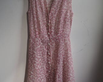 1950s Sheer Floral Sleeveless Sun Dress with Amazing Buttons