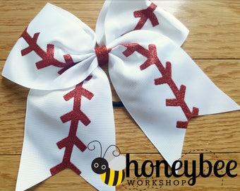 adorable baseball team spirit bow - team mom, sister, friend - team spirit gift idea - glitter boutique baseball bow with tails