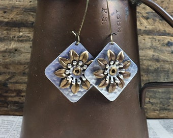 Mixed Metal Flower Stacked Earring