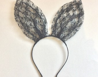 Ariana Grande black lace bunny ears headband, UK