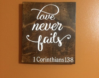 love never fails sign, wooden signs, bedroom sign, love sign, bedroom decor