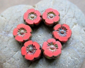 NEW Red CORAL BLOSSOMS . Czech Picasso Glass Flower Beads . 8 mm (10 beads)