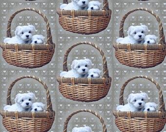 Maltese dog breed fabric