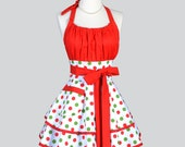 Flirty Chic Apron - Womens Retro Christmas Holiday Green and Red Polka Dot Pinup Kitchen Cooking Apron Ideal Hostess Gift or Gift for Her