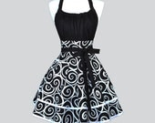 Flirty Chic Woman Apron - Cute Retro Sexy Black and White Swirls Pin up Vintage Style Kitchen Aprons