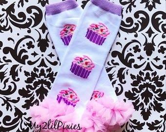LEG WARMERS, baby girl leg warmers,  cupcake leg warmers, pink leg warmers, Birthday warmers, chiffon ruffle leg warmers, girl leg warmers