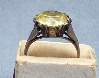 Sterling Citrine Glass Flower Ring Vintage Yellow Stone