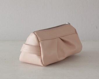 Baby pink leather makeup bag, accessory bag pencil case vanity storage zipper pouch  case  storage - Estia Bag