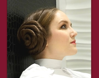 Princess Leia Star Wars hair accessories hair buns cosplay Inspired wedding costume wig custom color hair hairpiece Carrie Fisher