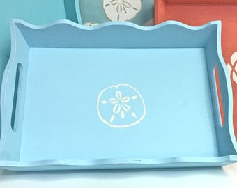 Beach Decor - Painted Wood Trays with Sea Life Motifs - Choose Small, Medium or Large