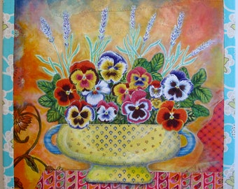 """fabric art, wall art, mixed media collage, quilt, painting Pansy I, 20"""" square"""