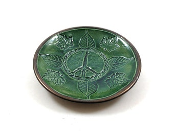 PEACE BUTTERFLY Offering Bowl Handmade Ceramic  Pottery