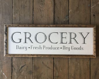 Grocery sign, kitchen sign, wood grocery sign, farmhouse sign, groceries sign, grocery and dry goods, wood sign, wooden sign