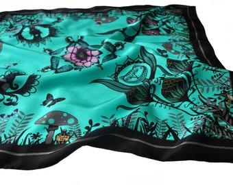 Alice in Wonderland Silk Scarf / Green Silk Scarf / Floral Silk Scarf