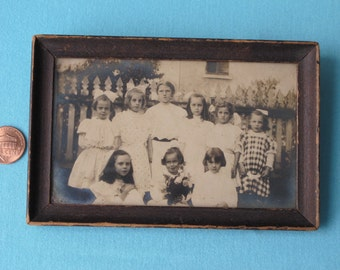 Sweet Edwardian Photograph c.1910 Photo Little Girl's Birthday Party Pictures Big Ribbon Hair Bows Cute Children