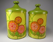 Free Shipping, Two Piece Metal Canister Set, Avocado Green and Yellow, Floral, '70's Retro, Kitchen Decor, Props
