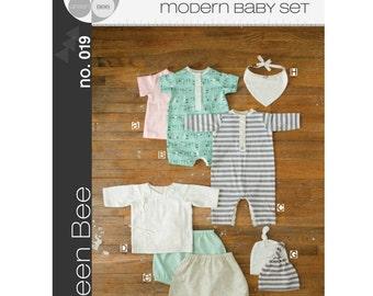 SALE - Green Bee Patterns - Modern Layette Set Pattern (paper) no. 19