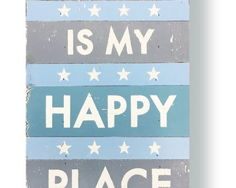 Rustic Sign, Beach Sign, The Beach is my happy place 12 x 16