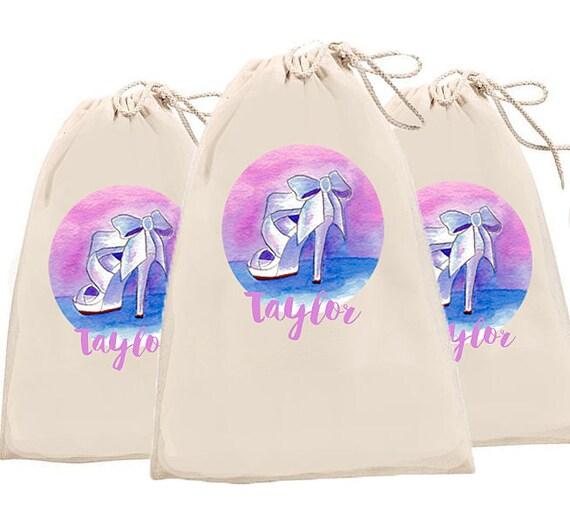Bridesmaid Bags, Shoe Bags, personalized shoe bags, monogrammed bridesmaid gifts, organic cotton drawstring bags, golf shoe bag, bride tribe