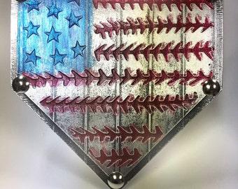 12 x 12 Home Plate Baseball Patriotic Flag America USA American Softball Original Foil Metal Tape Art Faux Steel Ready To Hang