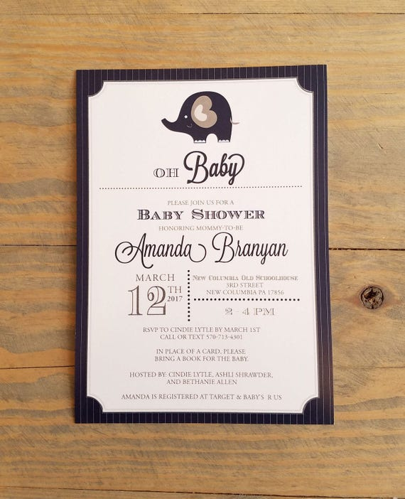 Elephant Baby Shower Invitation, Blue and gray baby shower invitation, Boy Elephant Baby shower invitation, baby boy baby shower invitation