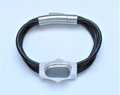 Sea Glass Jewelry - Sterling & Leather Rare Gray Sea Glass Bracelet