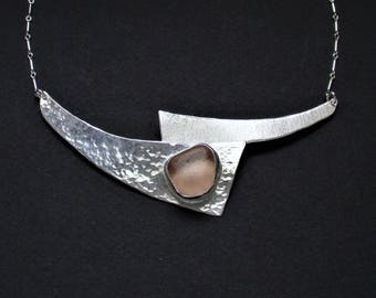 Sea Glass Jewelry - Sterling Rare Pink Sea Glass Choker Necklace