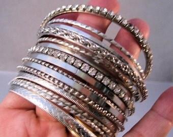 XMAS SALE Lot of 15 Rhinestone & Silver Tone Bangle Bracelets Bracelet Vintage Jewelry Jewellery