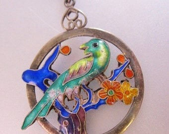 SALE ON Ends 4/30 Antique Chinese Parrot Bird Enamel Sterling Silver Pendant Necklace Two Sided