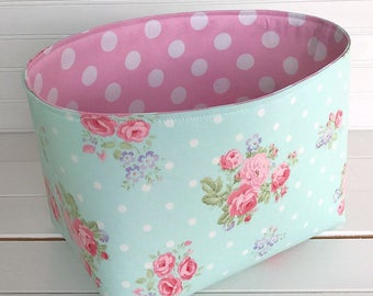 Organizer Basket,Fabric Bin,Storage Bin,Shabby Chic Nursery Decor,Fabric Basket Bin,Flowers,Home Decor,Roses,Aqua Blue,Pink - Shabby Chic