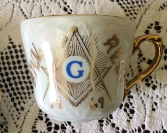 Vintage 60s Gold White Masonic China Teacup Saucer