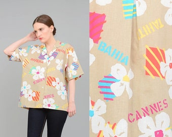 Vintage 80s Tropical Shirt Vacation Font Novelty Print Top 1980s New Wave Shirt Button Up Short Sleeve Shirt Medium Large M L