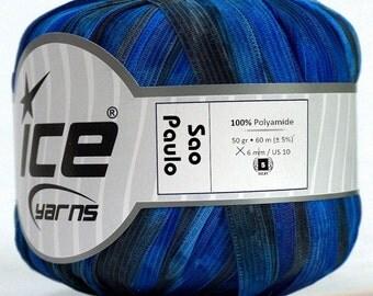 "Night Sky Sao Paulo Ribbon Yarn #45749 Black & Blues Ice 50 gram 65 yards 3/8"" width"