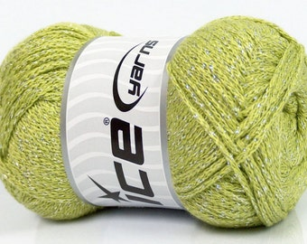 100 Gram Metallic Chainette Yarn #44513 Ice Spring Green & Silver DK 213 Yds - Soft, with Great Drape