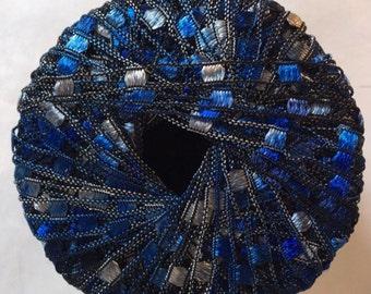"Di.Ve Scaletta Mini Ladder Ribbon Yarn #38160 Blues, Greys - 25 Gram 65 Yards 3/16"" Width"