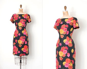 vintage 1960s dress / black floral print 60s wiggle dress ( medium large m l)