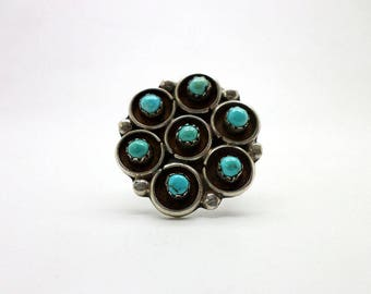 VERY Large Ring Turquoise and Silver Flower Southwest Indian Style
