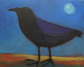 Raven Art, Crows and Ravens,  Full Moon.  High Desert. 10 x 8.   Acrylic, Gallery Wrapped Canvas.