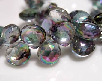 12 Beads Set - Beautiful AAA MYSTIC TOPAZ  Faceted Heart Briolettes