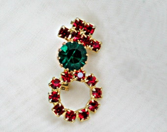 Snowman Brooch Vintage Holiday Jewelry Red Green Rhinestone Pin
